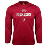 Syntrel Performance Cardinal Longsleeve Shirt-Pioneers Lacrosse Geometric Stick Head