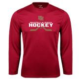 Syntrel Performance Cardinal Longsleeve Shirt-University of Denver Hockey Crossed Sticks