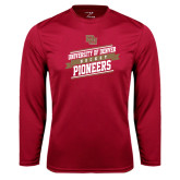 Syntrel Performance Cardinal Longsleeve Shirt-Pioneers Hockey Slanted Banner Text