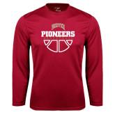 Syntrel Performance Cardinal Longsleeve Shirt-Pioneers Basketball Half Ball