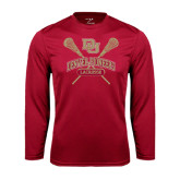 Syntrel Performance Cardinal Longsleeve Shirt-DU Crossed Lacrosse Sticks