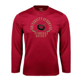 Syntrel Performance Cardinal Longsleeve Shirt-Arched University of Denver Pioneers Hockey w/Sticks