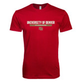 Next Level SoftStyle Cardinal T Shirt-University of Denver Pioneers Bar Stacked