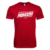 Next Level SoftStyle Cardinal T Shirt-University of Denver Pioneers Slanted w/ Logo