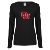 Ladies Black Long Sleeve V Neck Tee-DU