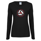 Ladies Black Long Sleeve V Neck Tee-DU Volleyball