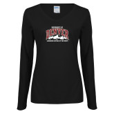 Ladies Black Long Sleeve V Neck Tee-Lacrosse Capital