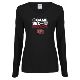 Ladies Black Long Sleeve V Neck Tee-Game Set Match