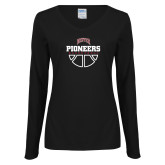 Ladies Black Long Sleeve V Neck Tee-Basketball