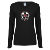 Ladies Black Long Sleeve V Neck Tee-DU Soccer