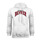 White Fleece Hood-Arched University of Denver