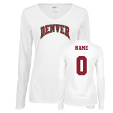 Ladies White Long Sleeve V Neck Tee-Primary Mark, Custom Tee w/ Name and #