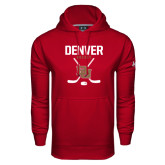 Under Armour Cardinal Performance Sweats Team Hoodie-Denver Hockey Tall Crossed Sticks