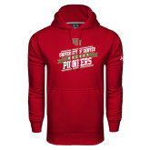 Under Armour Cardinal Performance Sweats Team Hoodie-Pioneers Hockey Slanted Banner Text