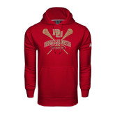 Under Armour Cardinal Performance Sweats Team Hood-DU Crossed Lacrosse Sticks