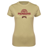 Ladies Syntrel Performance Vegas Gold Tee-Pioneers Volleyball Geometric Half Ball