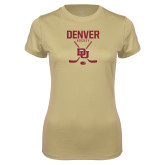 Ladies Syntrel Performance Vegas Gold Tee-DU Denver Hockey