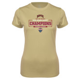 Ladies Syntrel Performance Vegas Gold Tee-2018 Ice Hockey Champions