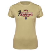 Ladies Syntrel Performance Vegas Gold Tee-NCHC 2018 Ice Hockey Champions