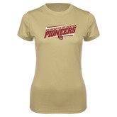 Ladies Syntrel Performance Vegas Gold Tee-University of Denver Pioneers Slanted w/ Logo
