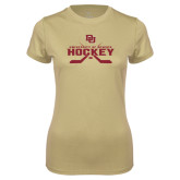Ladies Syntrel Performance Vegas Gold Tee-University of Denver Hockey Crossed Sticks