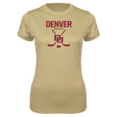 Ladies Syntrel Performance Vegas Gold Tee-Denver Hockey Tall Crossed Sticks