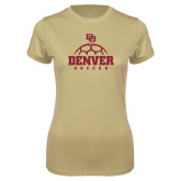 Ladies Syntrel Performance Vegas Gold Tee-Denver Soccer Half Ball