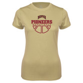 Ladies Syntrel Performance Vegas Gold Tee-Pioneers Basketball Half Ball