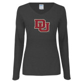 Ladies Dark Heather Long Sleeve V Neck Tee-DU
