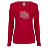 Ladies Cardinal Long Sleeve V Neck Tee-DU
