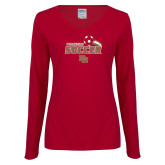 Ladies Cardinal Long Sleeve V Neck Tee-Pioneers Soccer