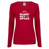 Ladies Cardinal Long Sleeve V Neck Tee-Bump Set Spike