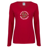 Ladies Cardinal Long Sleeve V Neck Tee-DU Volleyball