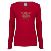 Ladies Cardinal Long Sleeve V Neck Tee-Denver Pioneers Lacrosse