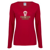 Ladies Cardinal Long Sleeve V Neck Tee-DU Lacrosse