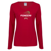 Ladies Cardinal Long Sleeve V Neck Tee-Pioneers Lacrosse Denver
