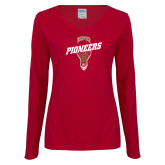 Ladies Cardinal Long Sleeve V Neck Tee-Pioneers LAX