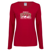 Ladies Cardinal Long Sleeve V Neck Tee-Lacrosse Capital