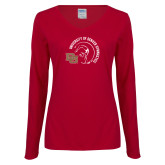 Ladies Cardinal Long Sleeve V Neck Tee-DU Gymnastics