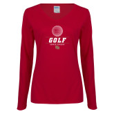 Ladies Cardinal Long Sleeve V Neck Tee-Denver Golf