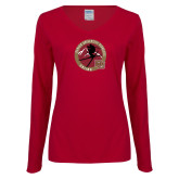Ladies Cardinal Long Sleeve V Neck Tee-DU Skiing