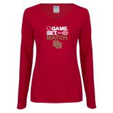 Ladies Cardinal Long Sleeve V Neck Tee-Game Set Match