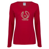 Ladies Cardinal Long Sleeve V Neck Tee-DU Tennis