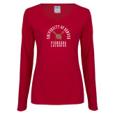 Ladies Cardinal Long Sleeve V Neck Tee-Pioneers Lacrosse