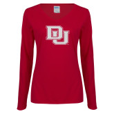 Ladies Cardinal Long Sleeve V Neck Tee-Primary Mark White Soft Glitter
