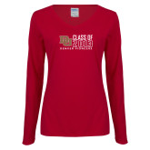 Ladies Cardinal Long Sleeve V Neck Tee-Class of, Personalized Year