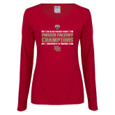 Ladies Cardinal Long Sleeve V Neck Tee-2018 NCHC Ice Hockey Champions