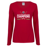 Ladies Cardinal Long Sleeve V Neck Tee-NCHC Ice Hockey Champions
