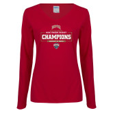Ladies Cardinal Long Sleeve V Neck Tee-2018 Ice Hockey Champions