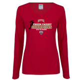 Ladies Cardinal Long Sleeve V Neck Tee-NCHC 2018 Ice Hockey Champions